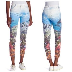 Mother High Waist Patterned Looker Ankle Jeans 24